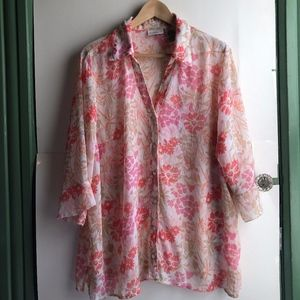 WHITE STAG White Pink Coral Floral 3/4 Button Down